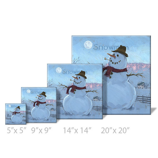 snowman at sunrise sizes