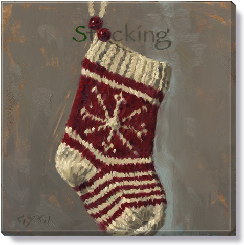 christmas stocking canvas art print