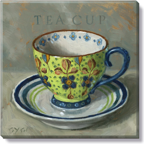 green patterned teacup canvas print