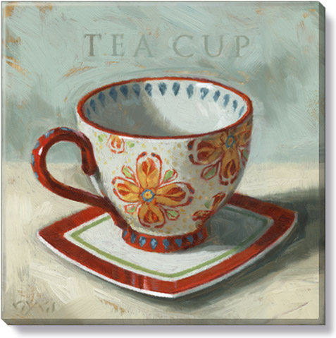 red teacup art print