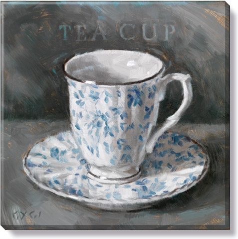 white and blue giclee teacup canvas print
