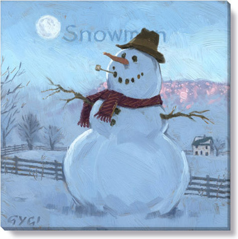 snowman at sunrise art print