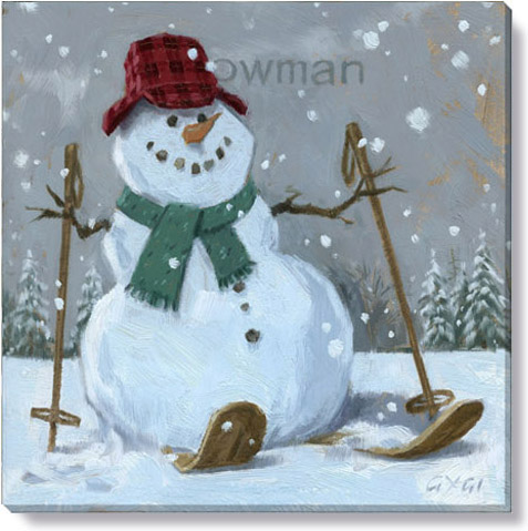 snowman on skis art print