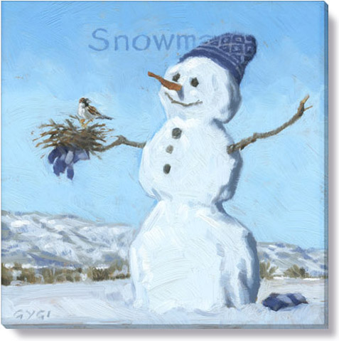 snowman with bird art print