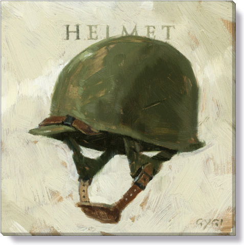 army helmet canvas art print