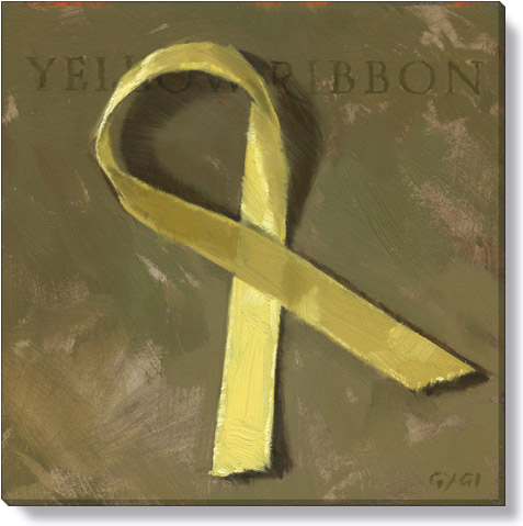 yellow ribbon canvas art print