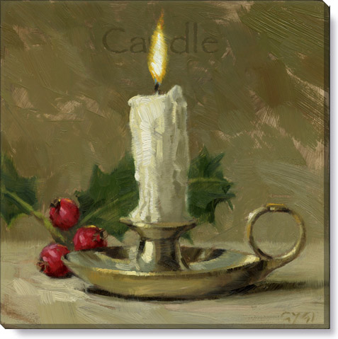 Christmas candle canvas art print