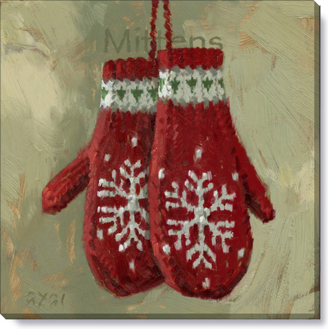 winter mitten canvas art print - holiday home decor