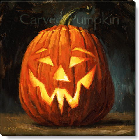 carved pumpkin halloween art print