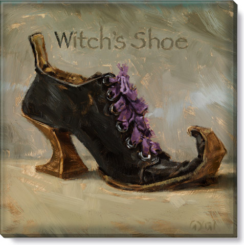witch's shoe halloween wall art canvas print
