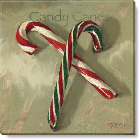 candy canes christmas art - canvas giclee print