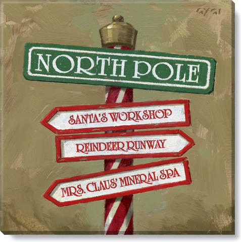 north pole canvas painting - holiday home decor