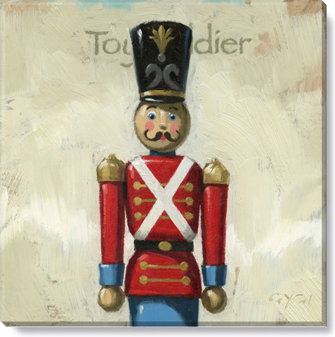 toy soldier christmas art - canvas giclee print
