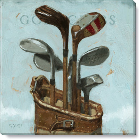 golf clubs canvas art print wall decor
