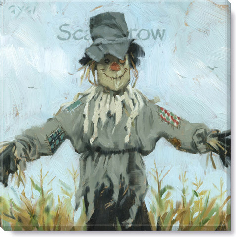 scarecrow canvas giclee print - fall home decor