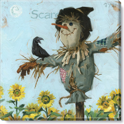 sunflower scarecrow canvas art print