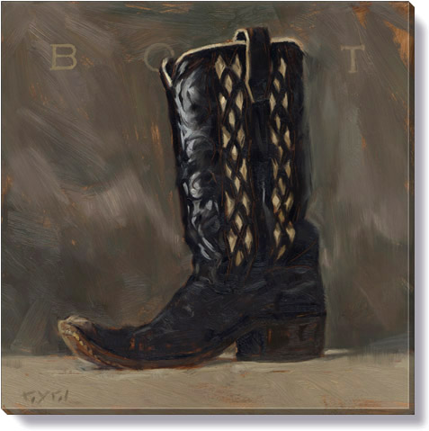 cowboy boots canvas art print