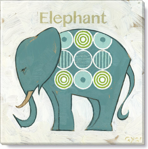 teal circles elephant canvas print
