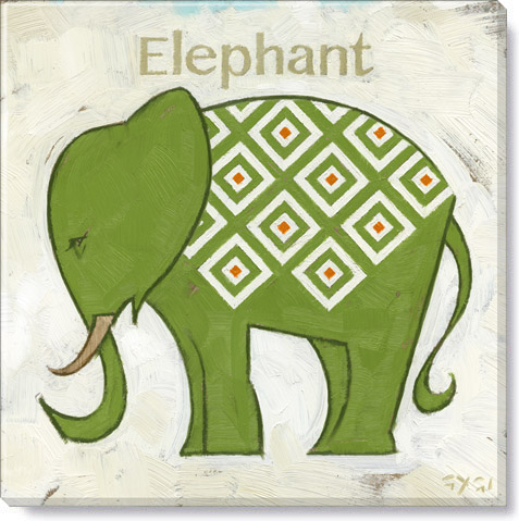 green diamond elephant art print