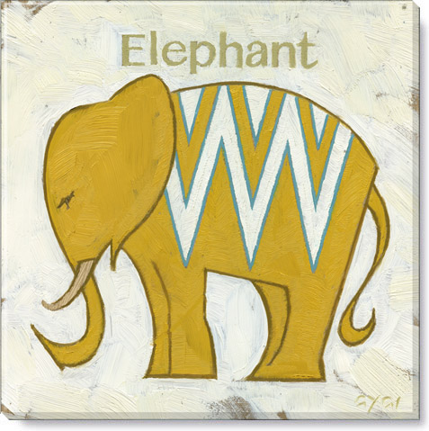 yellow chevron elephant canvas print