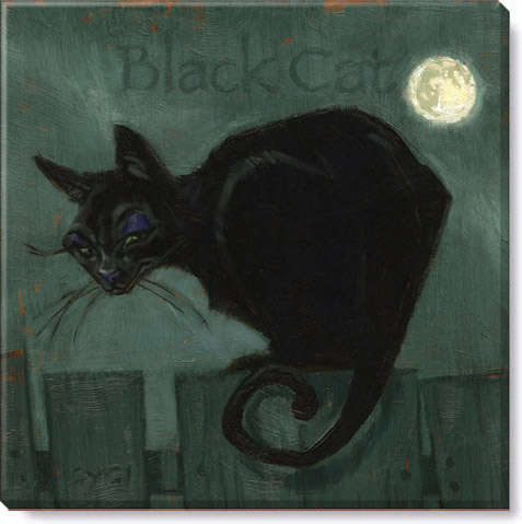 whimsical black cat canvas wall art