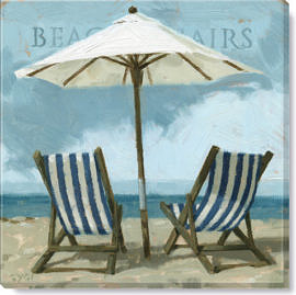 beach chairs giclee art print