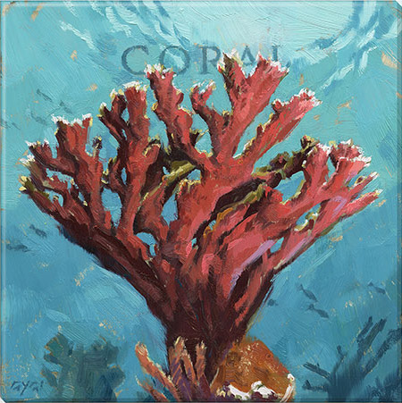 coral canvas art print