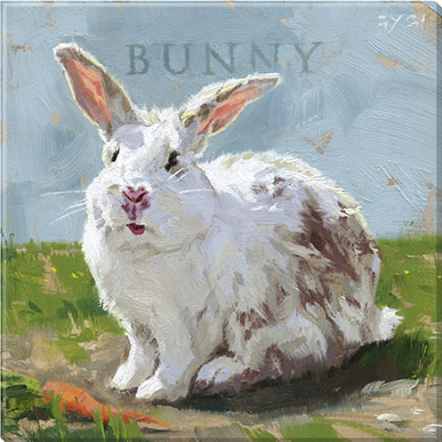 white bunny canvas art print