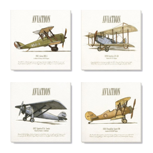 aviation art print set