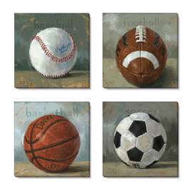 sports balls canvas wall art set