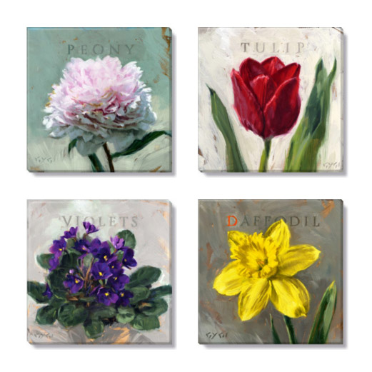 bright florals giclee print set