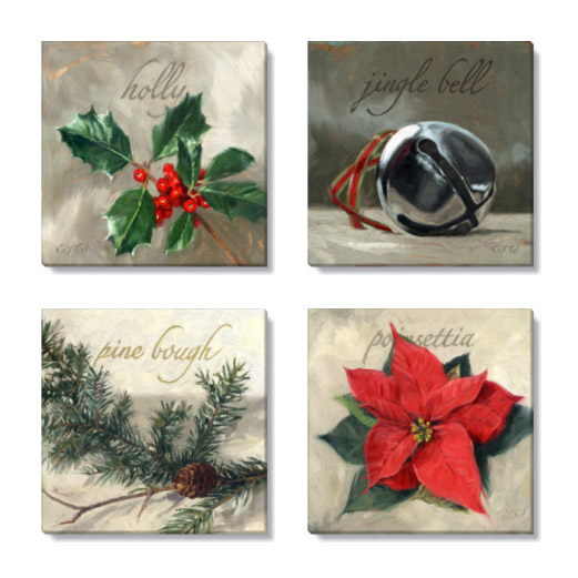 christmas gallery wrapped giclee print set