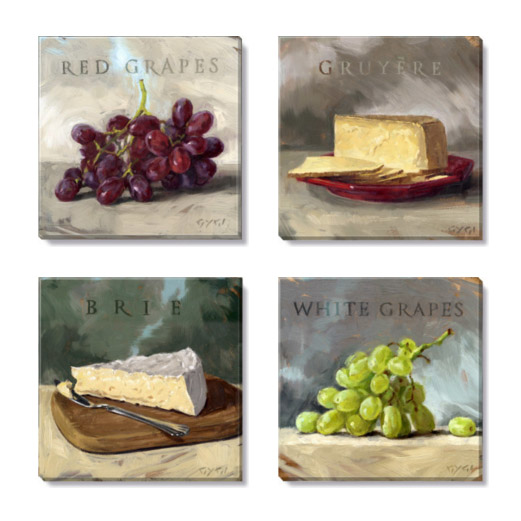 grapes and cheese art print set