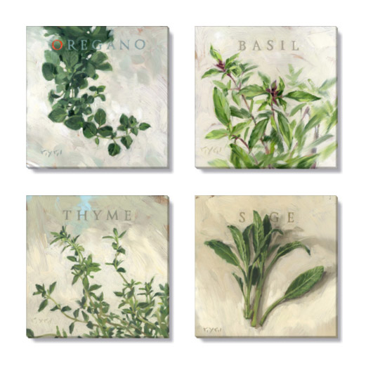 herbs canvas print set