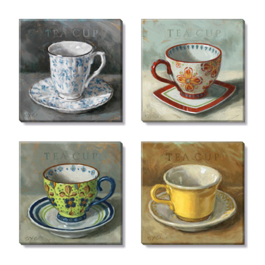 tea cups canvas print set