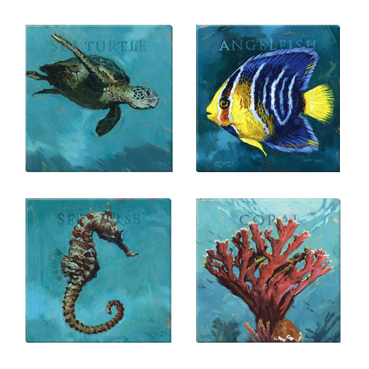 under the sea giclee print set