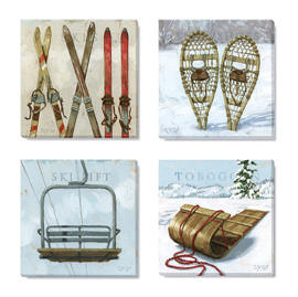 vintage ski canvas print set