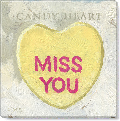 miss you candy heart art print