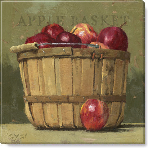 apple basket canvas art print