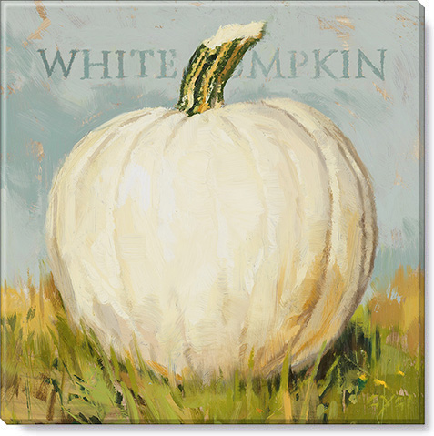 white pumpkin outside art print