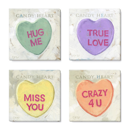 candy heart print set