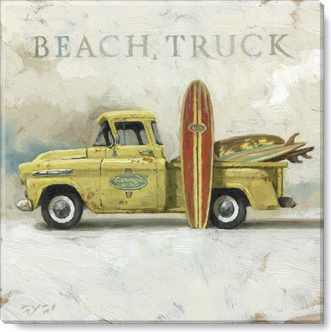 beach truck canvas print
