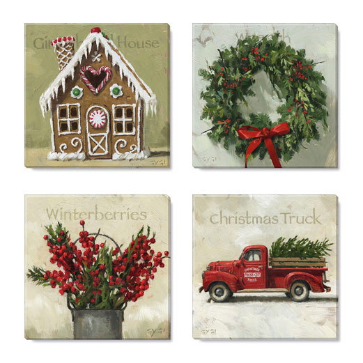 Christmas Trim Print Set Of 4