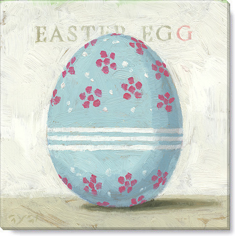 blue flowered Easter egg print