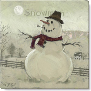 snowman at sunrise sepia