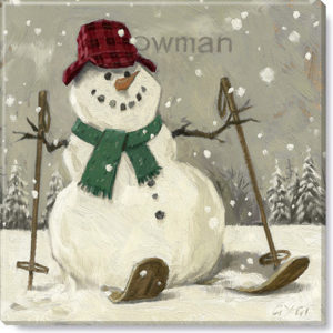 snowman on skis sepia