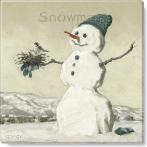 snowman with bird print sepia