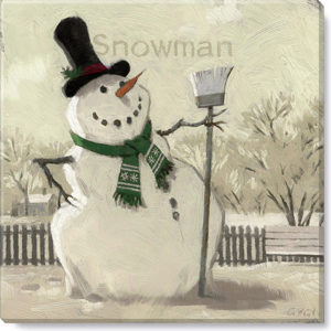 snowman with broom sepia