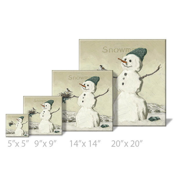 snowman with bird print sizes