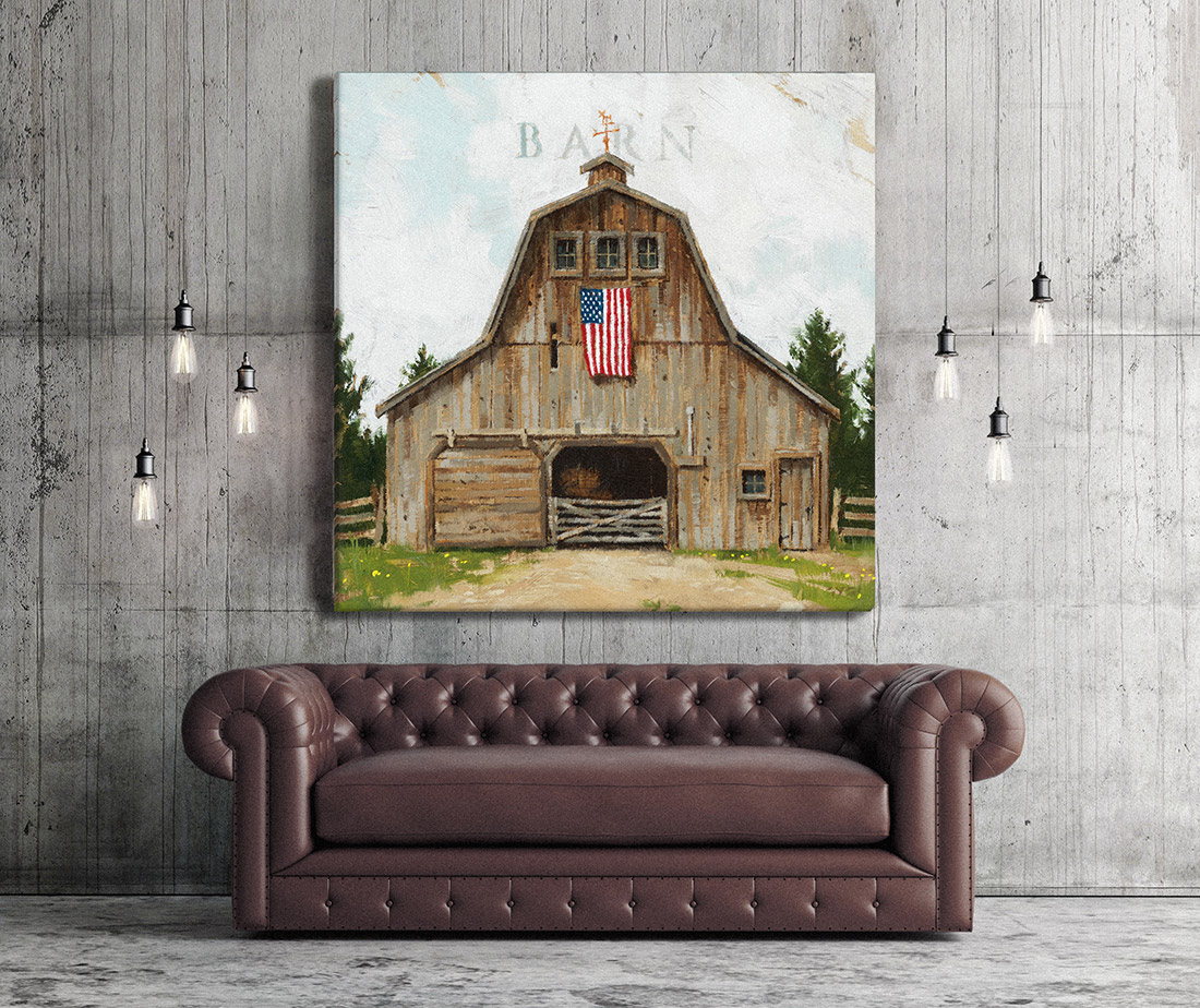 Wood Barn with Flag Print